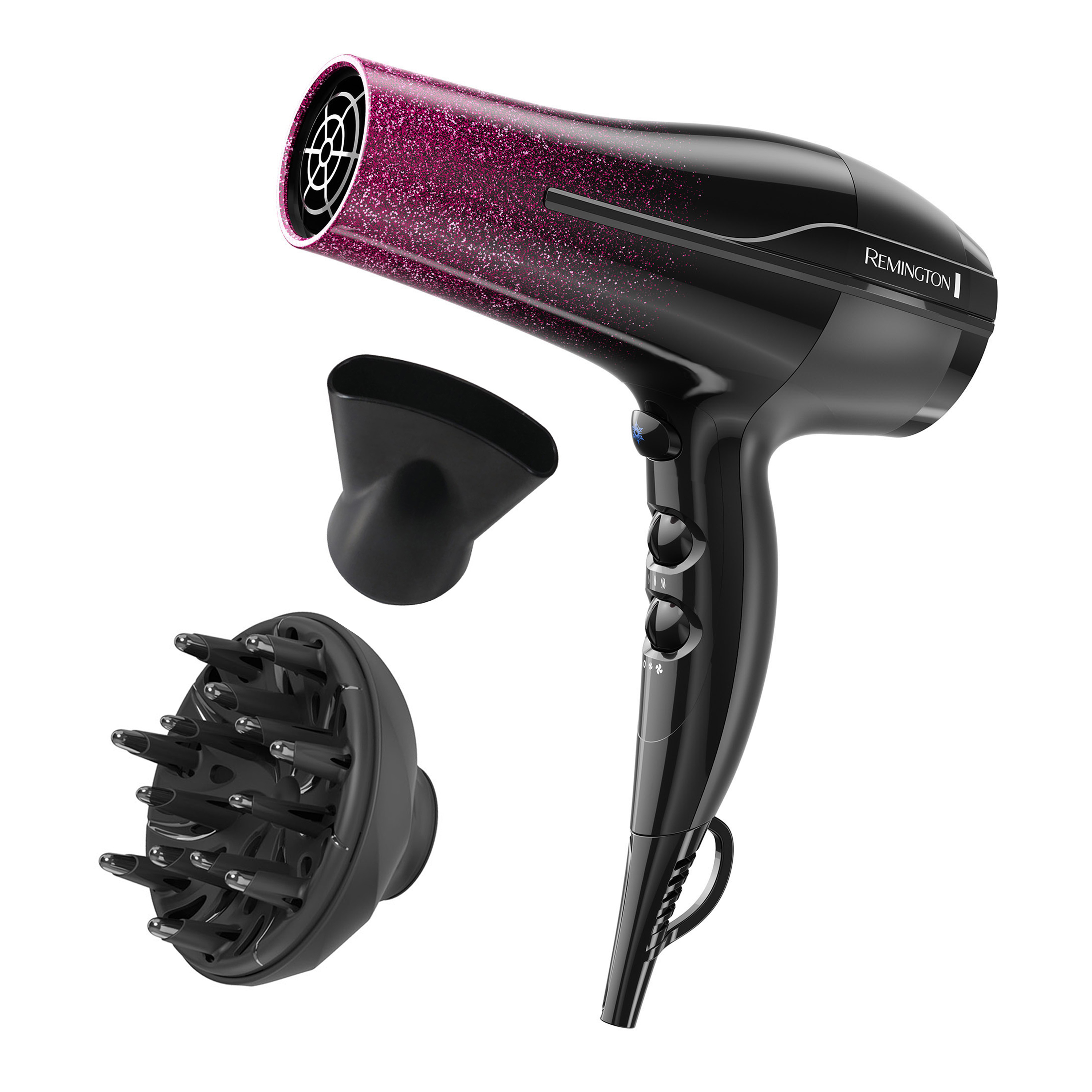 Remington Ultimate Smooth™ Hair Dryer with Titanium + Ionic + Ceramic Technology, Pink Glitter, D5950A