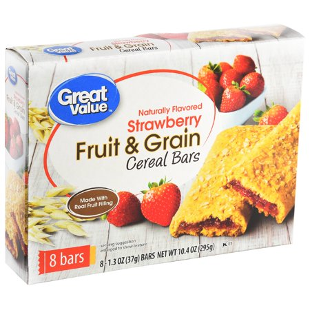 Great Value Fruit & Grain Bars, Strawberry, 1.3 oz, 8 Count