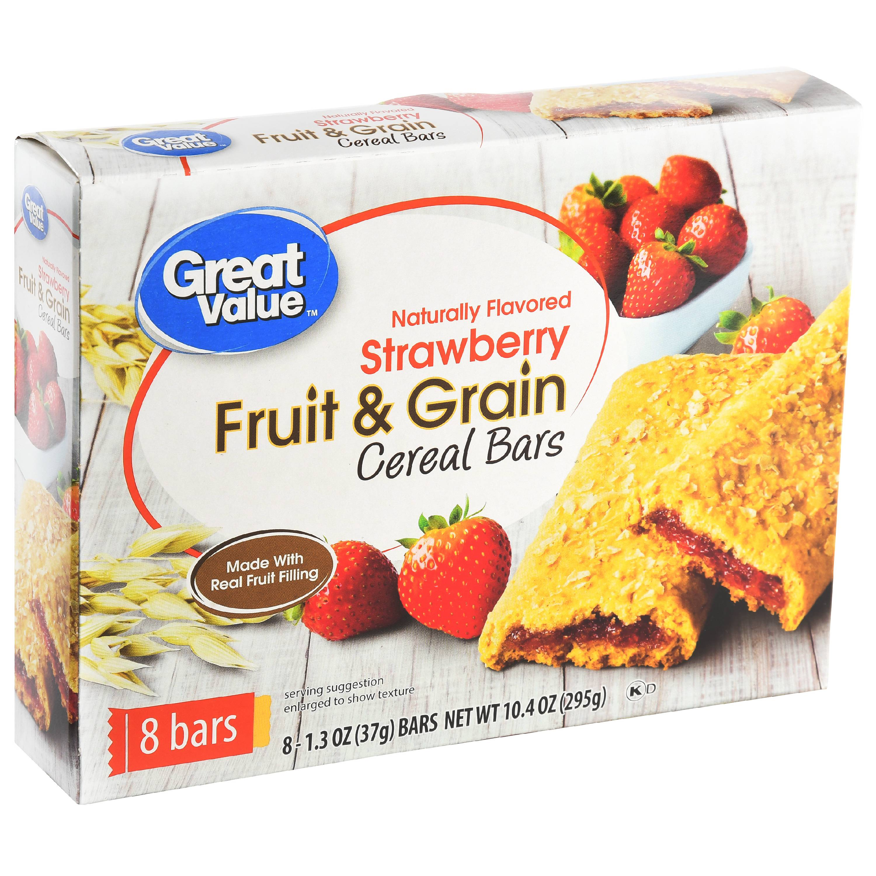 (6 Pack) Great Value Fruit & Grain Cereal Bars, Strawberry, 10.4 oz, 8 Count