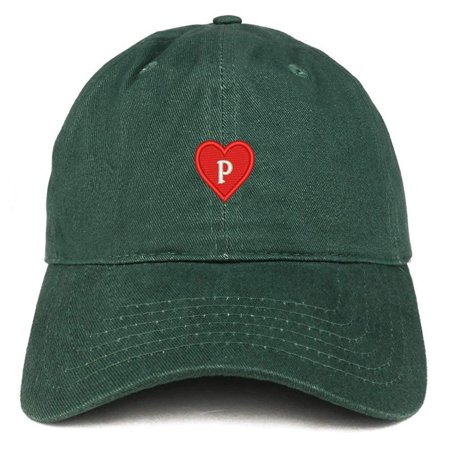 Trendy Apparel Shop Alphabet P Heart Emoji Embroidered Cotton Dad Hat- RED  - Walmart.com befa86ce4bb3