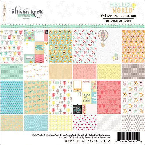 "Hello World Paper Pad, 6"" x 6"", 24 Sheets, 12 Double-Sided Designs"