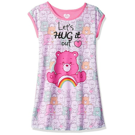 Girls Care Bears Hug It Out Nightgown Sleepwear Pink (Girls Sleep Gown)