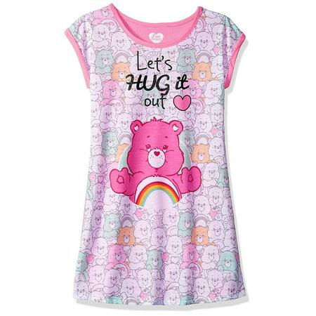 Pink Nightgown Girls (Girls Care Bears Hug It Out Nightgown Sleepwear)