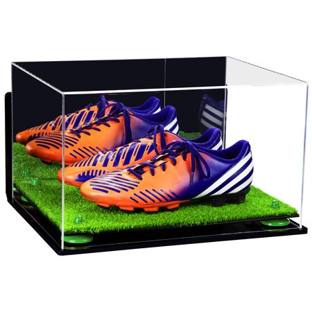 Acrylic Shoe Displays - Deluxe Acrylic Large Shoe Pair Display Case for Basketball Shoes Soccer Cleats Football Cleats with Mirror, Wall Mount, Green Risers and Turf Base (A082-GRR)