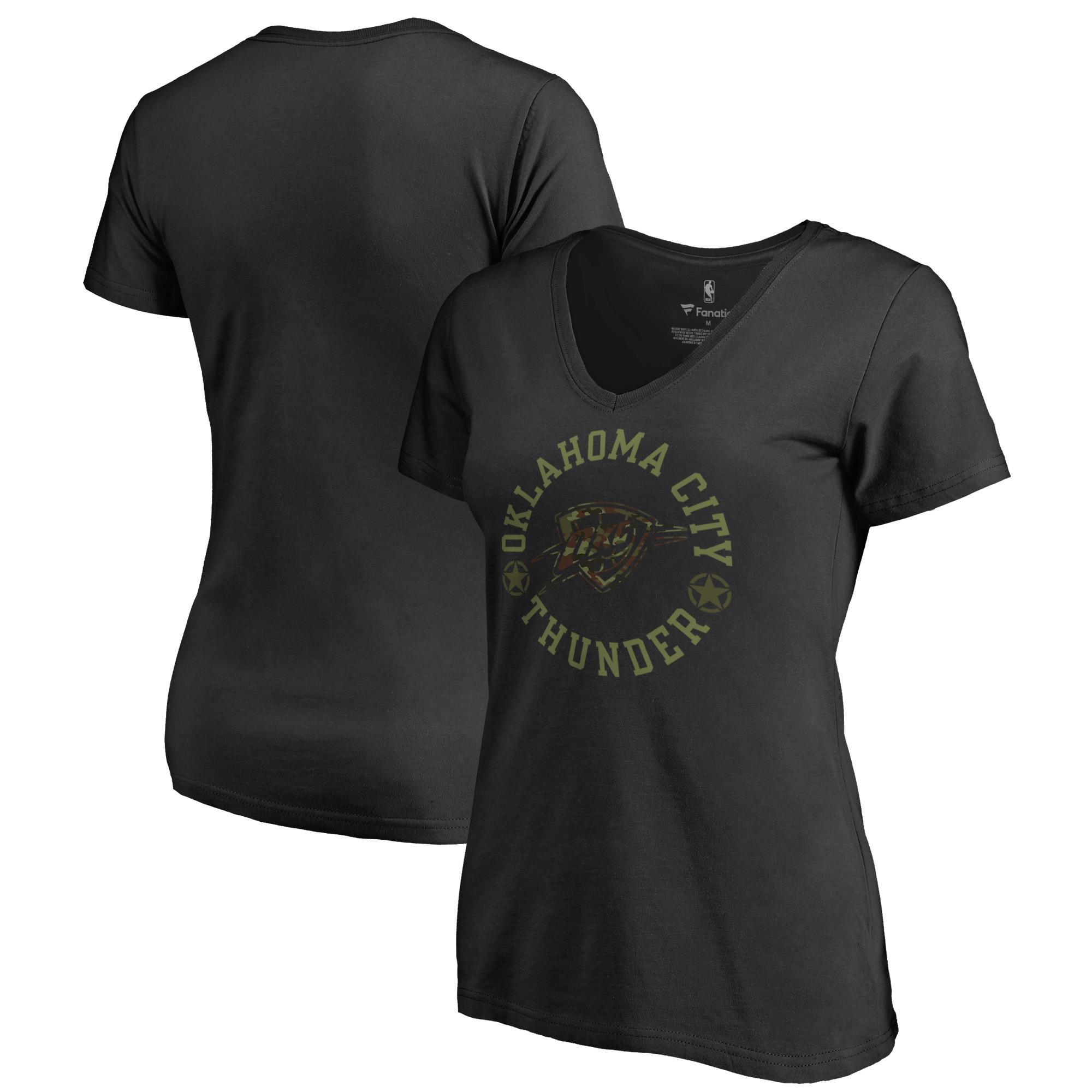 Oklahoma City Thunder Fanatics Branded Women's Liberty V-Neck T-Shirt - Black