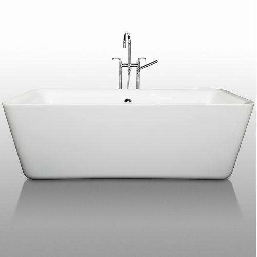 Wyndham Collection Emily 69 Inch Freestanding Bathtub In White With  Polished Chrome Drain And Overflow Trim