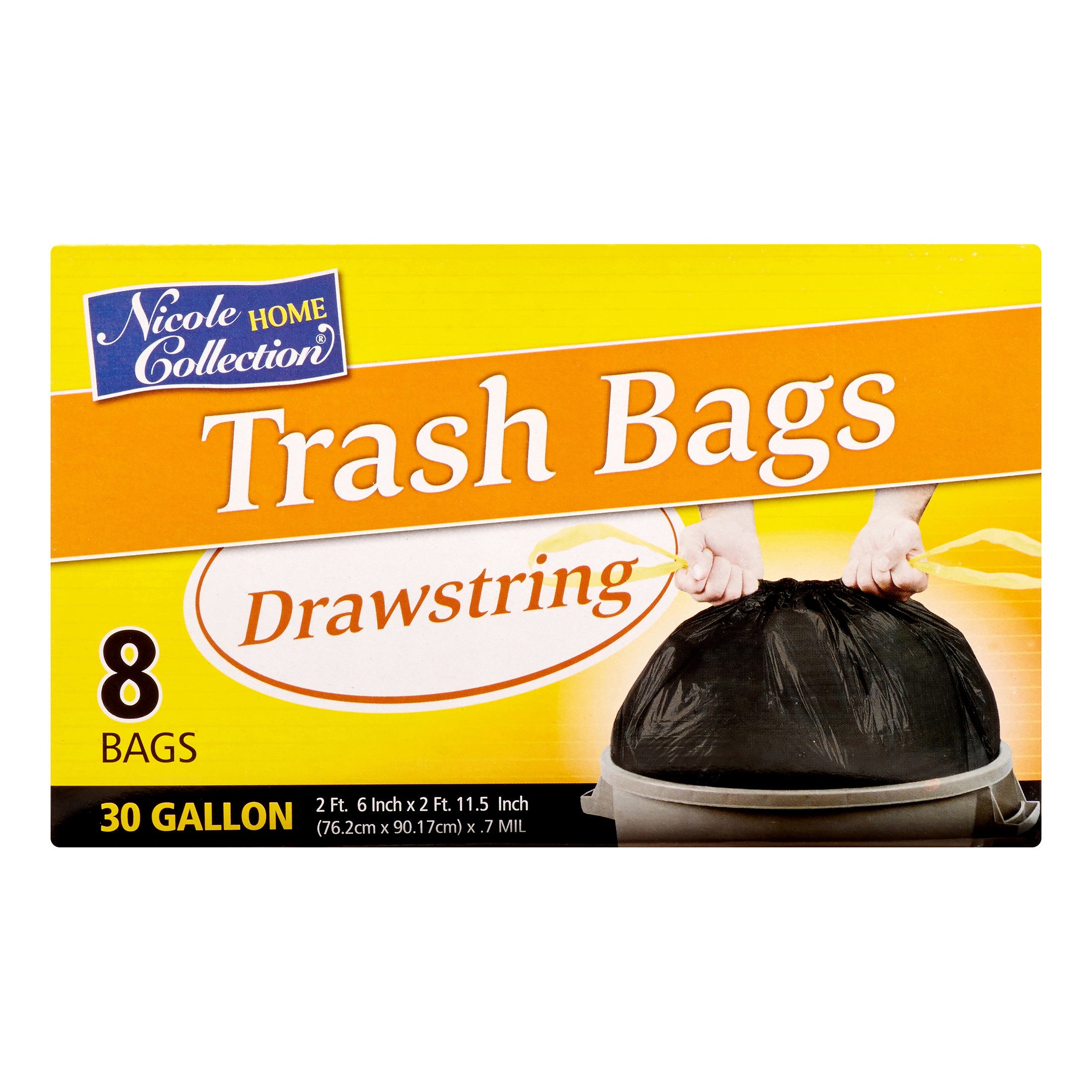 Nicole Home Collection Drawstring Trash Bags, 30 Gallon, Black, 8 Ct