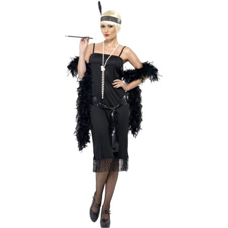 Womens 1920s Flirty Flapper Girl Black Dress With Sash And Headpiece Costume (Flapper Girl Costumes Adults)