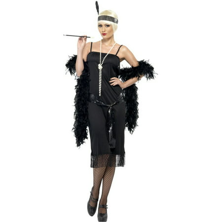 Womens 1920s Flirty Flapper Girl Black Dress With Sash And Headpiece Costume (20s Headpiece)