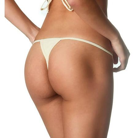 online retailer c469a b6d94 COQUETA Brazilian Teeny Itsy Bitsy Micro Thong Mini Bikini Swimsuit G  String IVORY-SM
