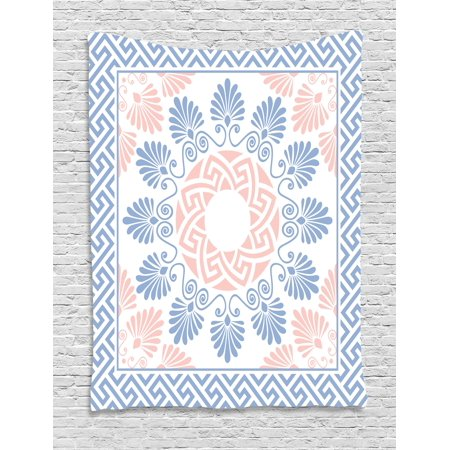 Greek Key Tapestry, Pastel Pink White and Blue Round Floral Grecian Fret Hellenic Ornament, Wall Hanging for Bedroom Living Room Dorm Decor, Baby Blue Blush White, by Ambesonne ()
