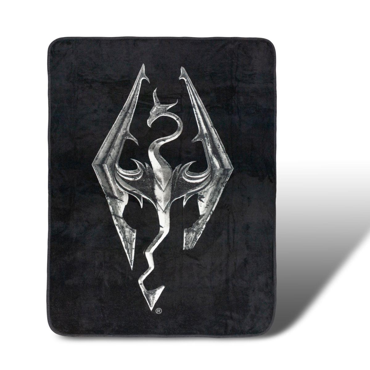 Skyrim Dragon Emblem Lightweight Fleece Throw Blanket | 45 x 60 Inches