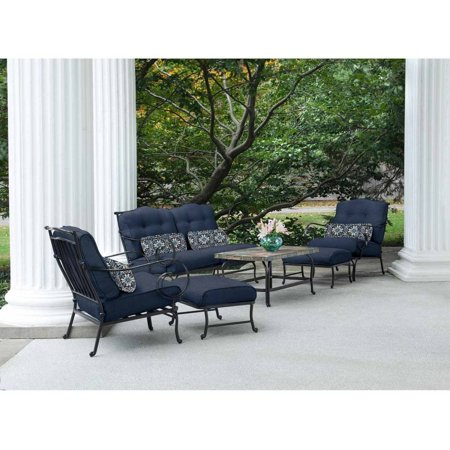 6-Piece Patio Set with Stone-Top Coffee Table - 6-Piece Patio Set With Stone-Top Coffee Table - Walmart.com