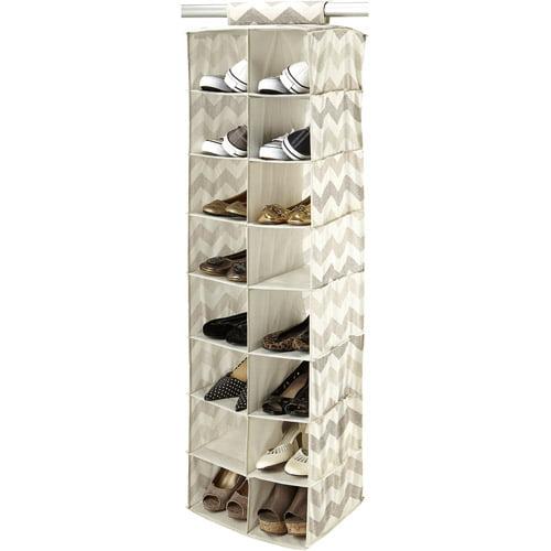 HouseCandie 16-Pocket Shoe Organizer, Textured Chevron