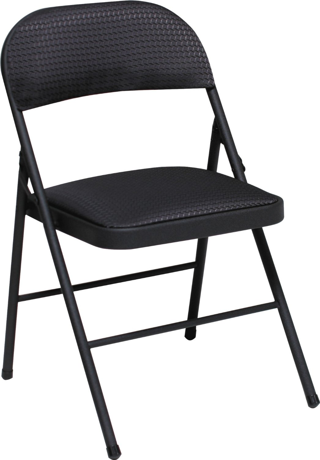 Cosco Commercial Fabric Indoor Outdoor Folding Chair With Fabric Cushion,  Black