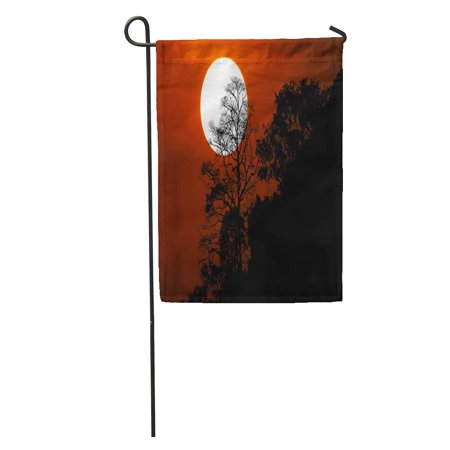 KDAGR Abstract Halloween Silhouette Trees on Mountain in Spooky Sunset Sky Garden Flag Decorative Flag House Banner 12x18 inch](Sky Garden Halloween)