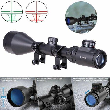 Hunting Optics Rifle Scope Gun Scope 3-9x56 Red Green Mil-dot Illuminated Tactical w/ 20mm Rail