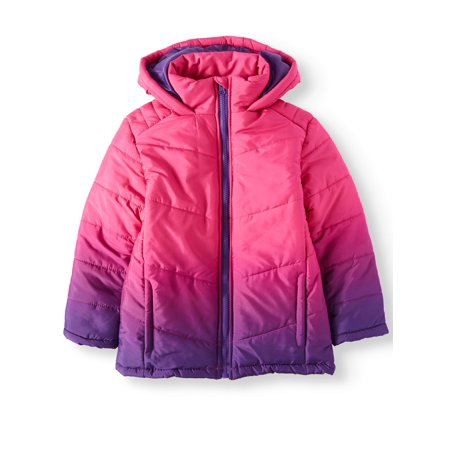 (Dip Dye Hooded Bubble Jacket (Little Girls & Big Girls))