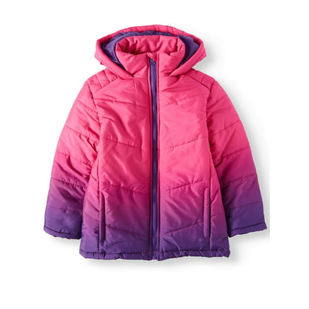 Dip Dye Hooded Bubble Jacket (Little Girls & Big Girls) (Girls Winter Clothes Sale)