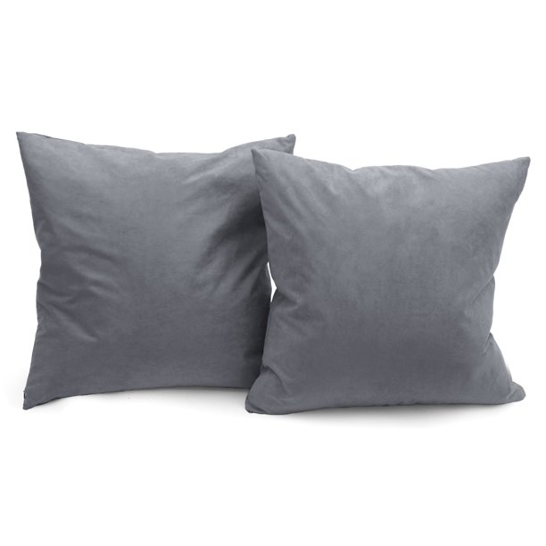 deluxe comfort luxury feather filled microsuede solid color decorative throw pillow 16 x 16 dark grey 2 pack