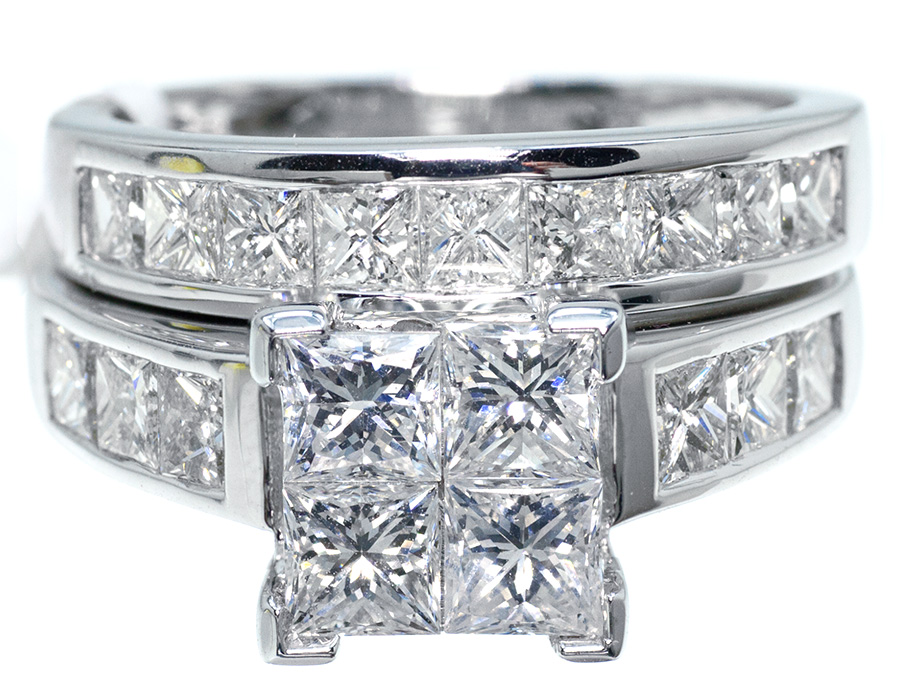 Princess Cut White Gold Bridal Set in White Gold (3.0 ct) by Jewelry Unlimited