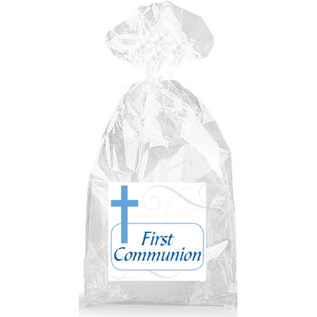 Boys Blue Cross First Communion  Party Favor Bags with Ties - - First Communion Gift Bags