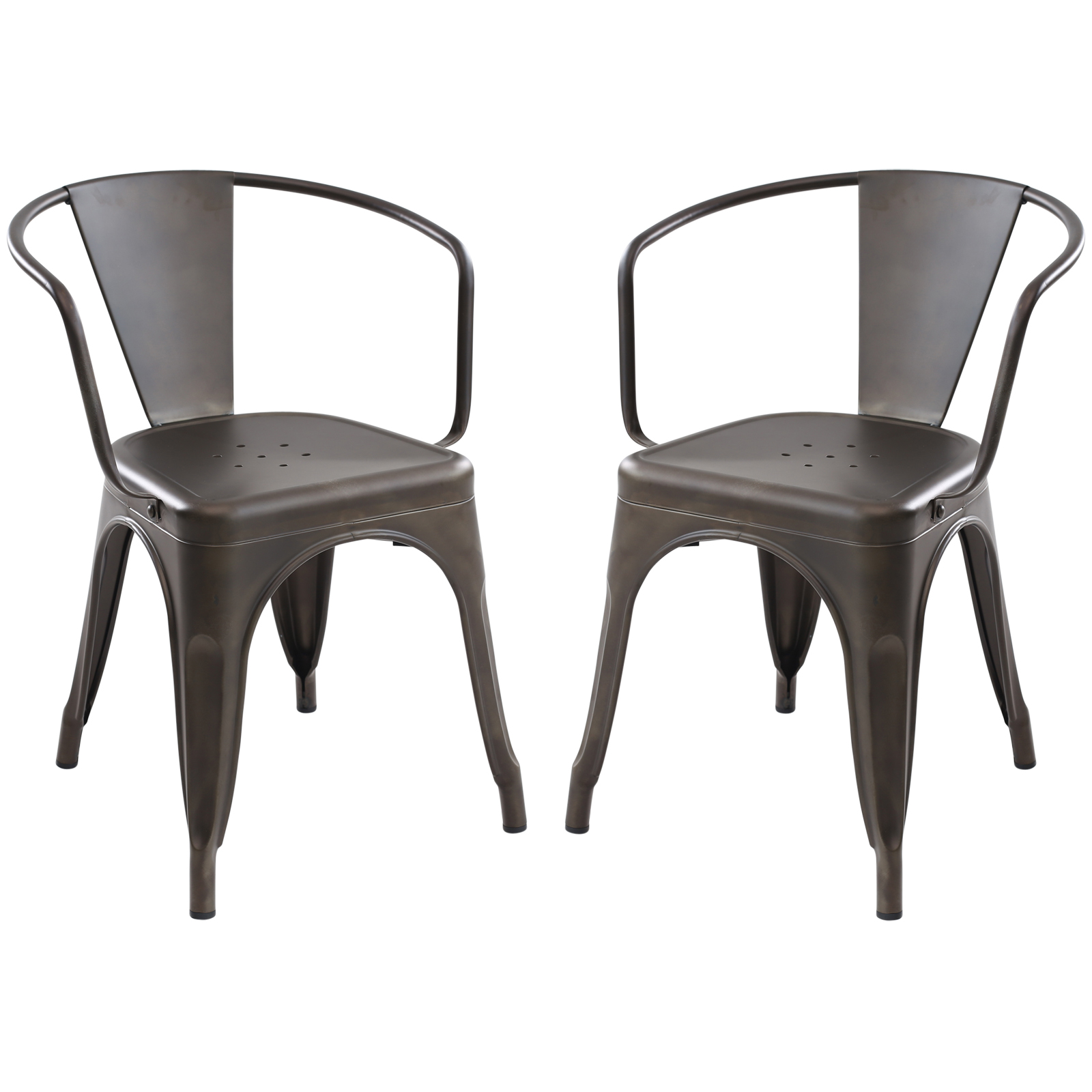 Poly and Bark Trattoria Arm Chair in Bronze (Set of 2)