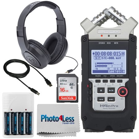 Zoom H4n Pro Handy Recorder + Stereo Headphones + SanDisk 16GB SD Card + Photo4less Cleaning Cloth + 4 AA Batteries with Charger + USB