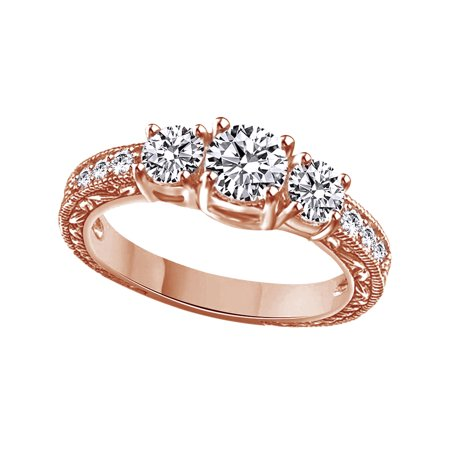 White Cubic Zirconia Vintage Style Three Stone Promise Ring In 14k Rose Gold Over Sterling Silver