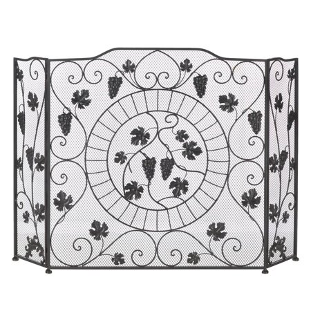 Fireplace Screens Three Panel Black Western Vineyard Antique Fireplace Screen