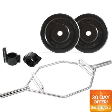 CAP Barbell 140 lb Bumper Plate Set with Zinc Plate Hex Bar and Muscle Clamp