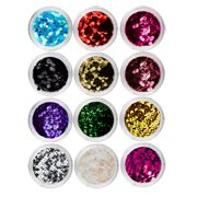 Beaute Galleria 12 Colors Nail Art Decorations Hexagon Glitter Sparkle Sequins Spangle Paillette Laser Flakies Holographic Metallic Rhinestones for Manicure Pedicure