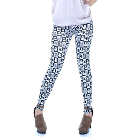 S/M Fit Black and White Halloween Theme Scary Spider and Skull Legging - Halloween Scary Skull