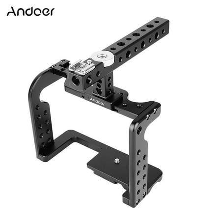 Andoer Video Camera Cage Stabilizer with Top Handle Aluminum Alloy for Panasonic GH5/GH4 DSLR to Mount Mic Monitor LED Light Film Making (Best Monitor For Gh4)