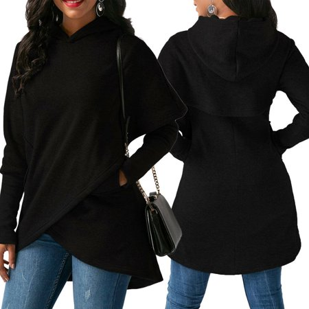Women Long Sleeve Hoodie Sweatshirt Sweater Hooded Jumper Coat Pullover Tops Black Size S