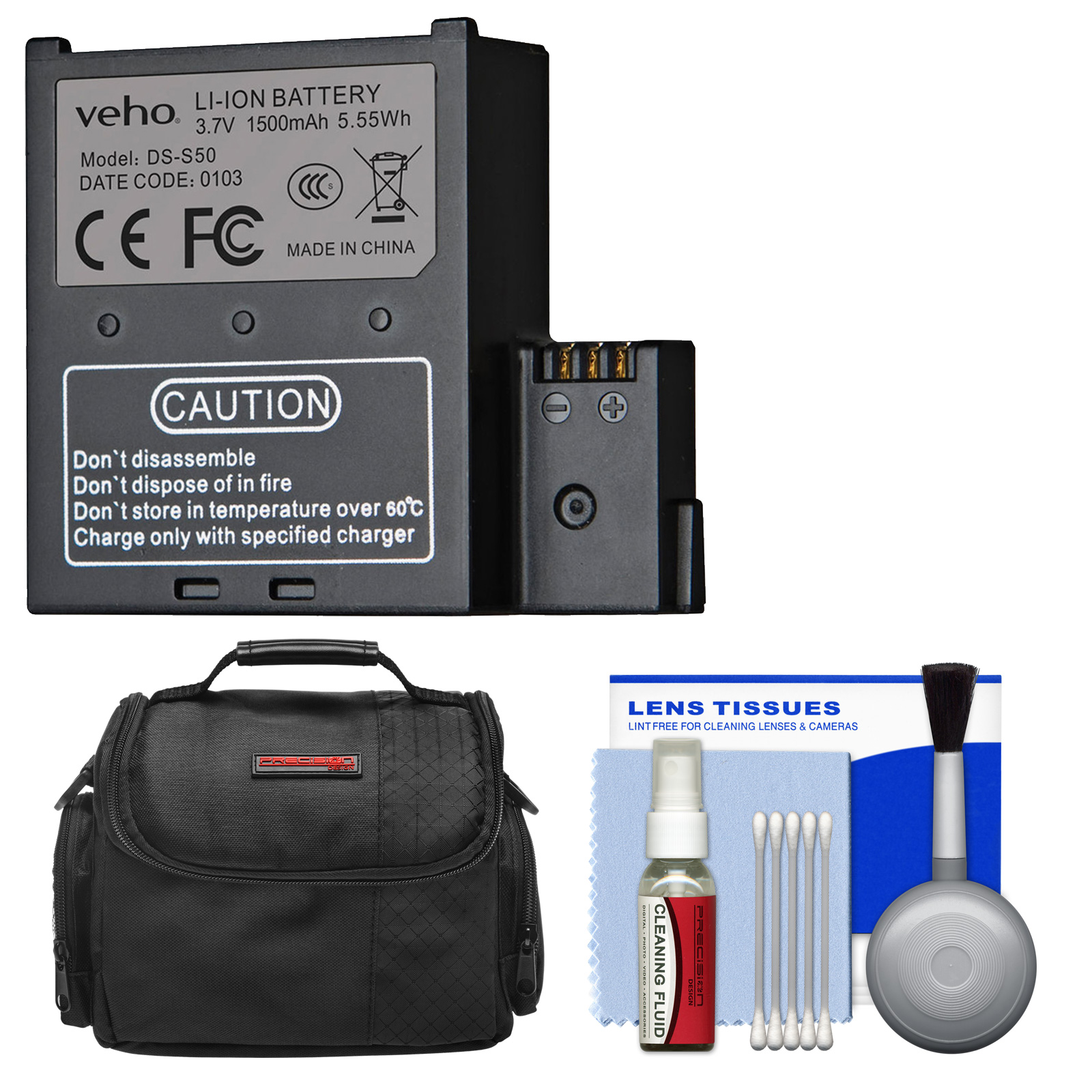 Veho VCC-A034-SB 1500mah Rechargeable Battery for Muvi K, K1, K2 Action Cameras with Case + Cleaning Kit