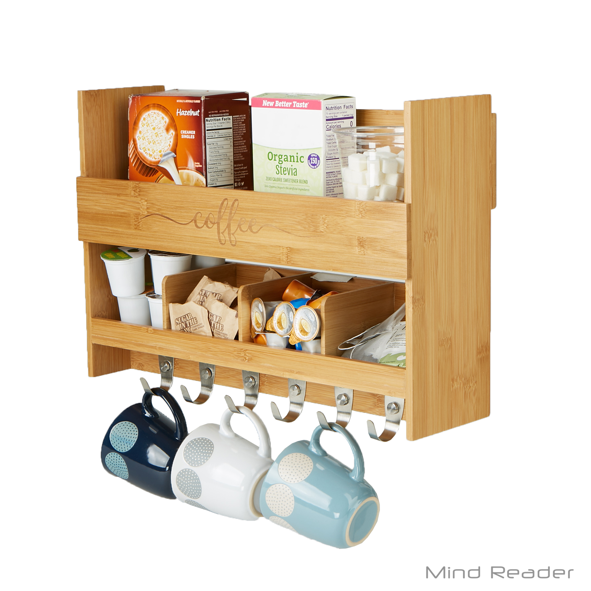 Mind Reader Wall Mount Coffee Mug Rack Condiment Kitchen Storage Organization, Brown