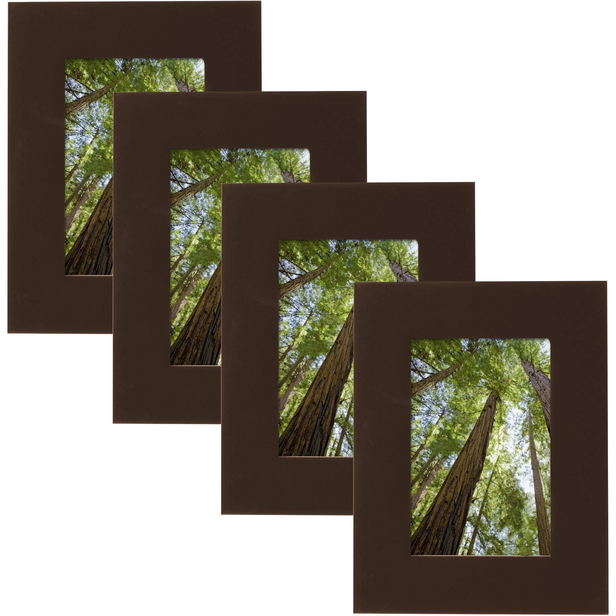 "Mainstays Museum 4"" x 6"" Solid Wood Picture Frame, Mahogany, Set of 4"