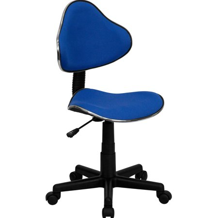 A Line Furniture Art Deco Blue Fabric Adjustable Armless Swivel Office