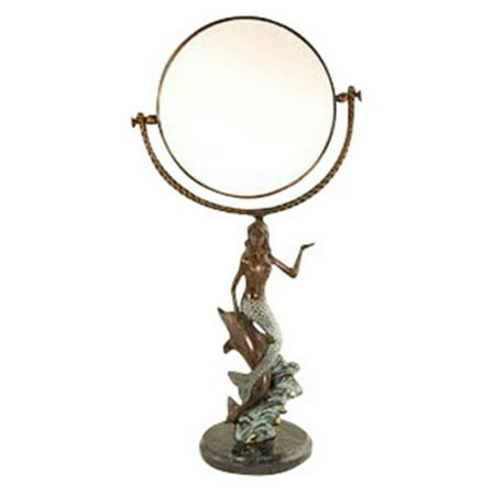 Mermaid and Dolphin Vanity Mirror - 18.5H in. (Dolphin Tropical Mirror)