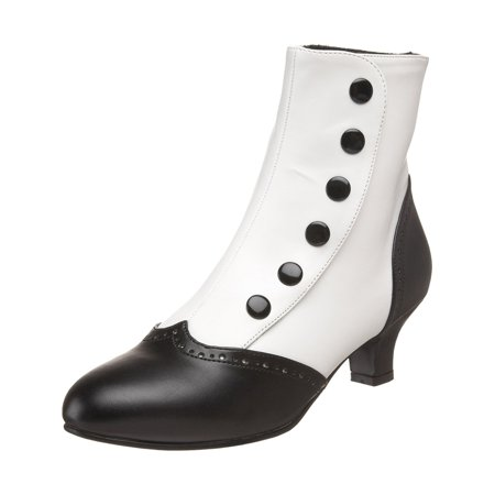 - 2 Inch Heel Two-Tone Button Snap Spat Sexy Spectator Ankle Boot Red White Black
