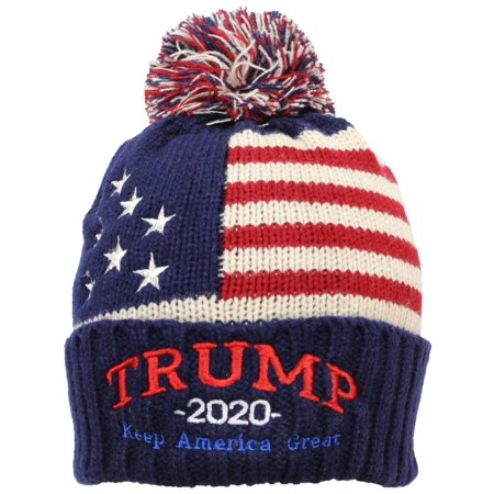 eaf0687b324 Best Winter Hats Adult US Flag Embroidered Trump 2020 Keep America Great  Beanie - Navy - Walmart.com