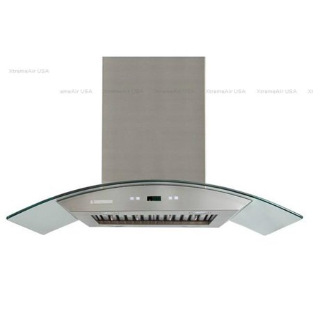 Non Greasy Light - XtremeAir , 30 wide, 900 CFM, LED lights, Both Side accessible Controls, Baffle Filters W/ Grease Drain Tunnel, 8.0mm Capony Temper Glass, Island Mount Range Ho