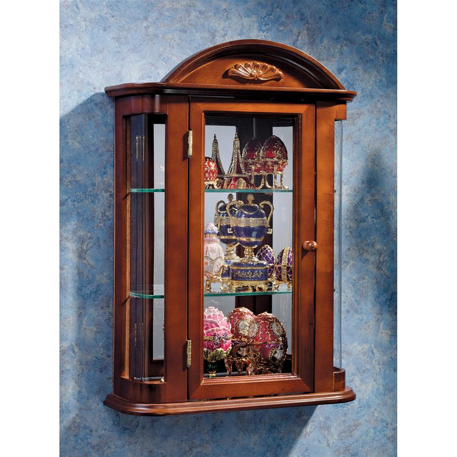 Rosedale Hardwood Wall Curio Cabinet: Mahogany Finish