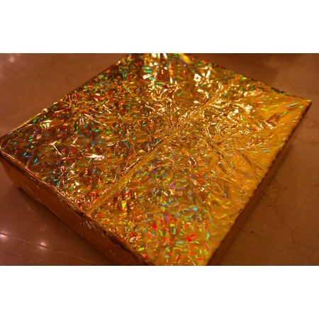 LAMINATED POSTER Sparkling Wrapping Paper Packed Golden Gift Poster Print 24 x 36