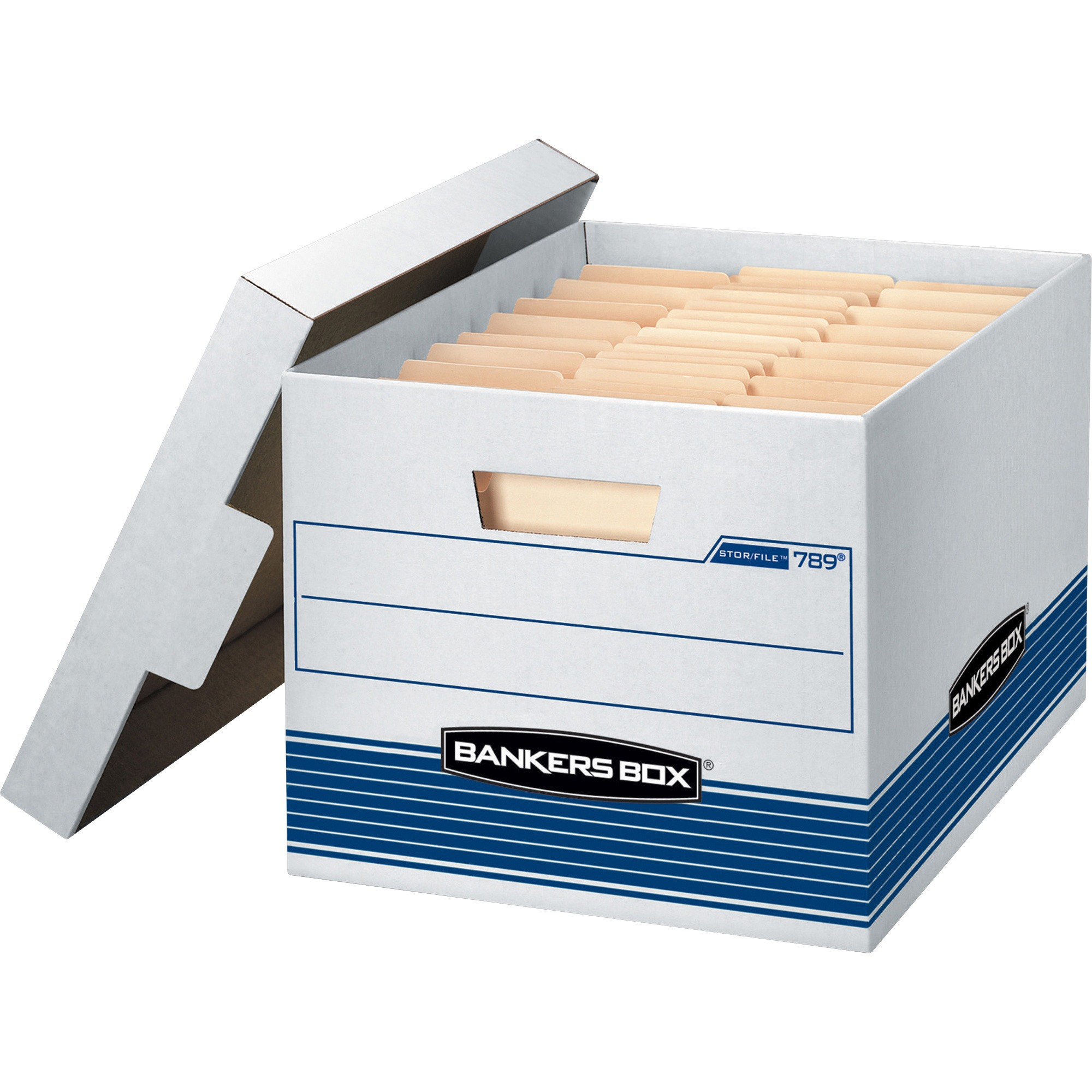 Bankers Box, FEL00789, Quick/Stor Storage Boxes, 12 / Carton, White,Blue