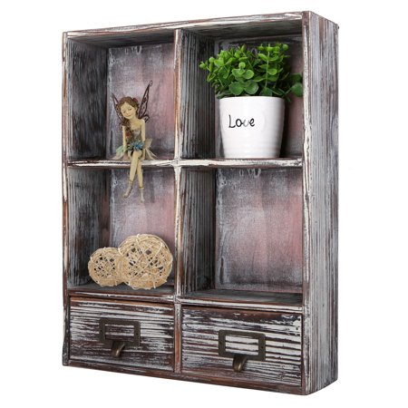 Wall- Mounted Rustic Torched Wood Shadow Box with 4 Cubby Shelving, 2 Drawers and Label Holders ()