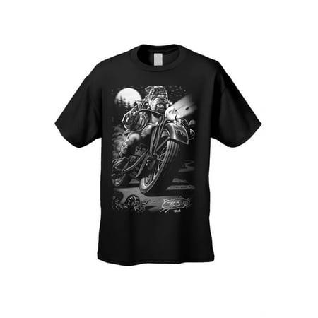 Skeleton Biker Shirt (Men's/Unisex T Shirt Biker Bulldog Cats Suck Canines Rule Short Sleeve Tee )