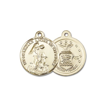 - 14kt Yellow Gold Guardain Angel / Air Force Medal 7/8 x 3/4 inches