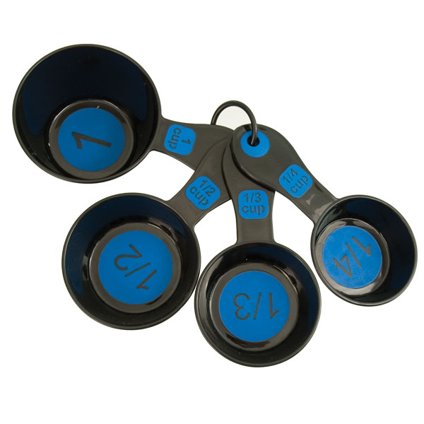 Measuring Cups with Large Print-Set-4 Black-Blue by Chef Craft